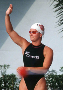 Canada's Andrea Nugent competing in the swimming event at the 1992 Olympic games in Barcelona. (CP PHOTO/ COA/Ted Grant) Andrea Nugent du Canada participe en natation aux Jeux olympiques de Barcelone de 1992. (PC Photo/AOC)