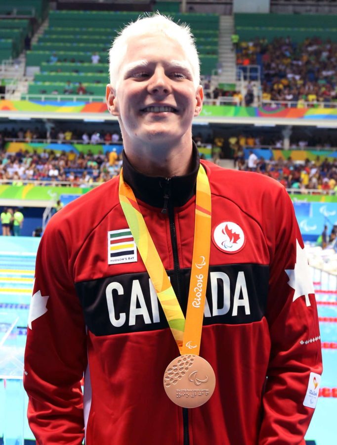 Rio de Janeiro-17/9/2016- Canadian swimmer Nicolas Turbide wins bronze in the men's 100m backstroke final at the Olympic Aquatics Centre during the 2016 Paralympic Games in Rio. Photo Scott Grant/Canadian Paralympic Committee